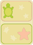 Immagine degli elementi della spiaggia, tartarughe, sabbia, stella marina Immagini Stock