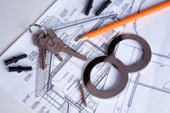 Immagine degli oggetti di ingegneria sul posto di lavoro Fotografia Stock