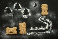 Immagine dei biscotti di Natale e della figura della farina Fotografia Stock Libera da Diritti