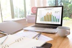 Immagine dei documenti di affari sul posto di lavoro, ufficio Immagini Stock