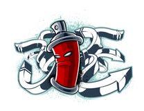 Immagine dei graffiti della latta con le frecce illustrazione di stock
