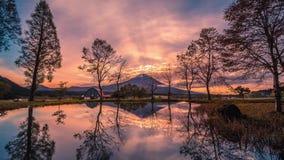 Immagine dei paesaggi del Mt Fuji con i grandi alberi e lago ad alba a Fujinomiya, Giappone stock footage