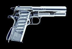 Immagine dei raggi x della pistola isolata sul nero Fotografie Stock