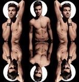 Immagine del collage di un uomo nudo con aura leggera Immagini Stock Libere da Diritti