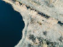 immagine del fuco vista aerea di zona rurale con le paludi, i laghi e le FO immagine stock libera da diritti