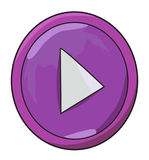 Immagine del fumetto dell'icona del tasto di riproduzione Simbolo del gioco Fotografia Stock