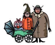 Immagine del fumetto dell'icona della famiglia Genitori con il simbolo del bambino illustrazione vettoriale