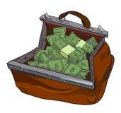 Immagine del fumetto della borsa enorme di soldi illustrazione di stock