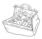 Immagine del fumetto della borsa enorme di soldi royalty illustrazione gratis