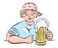 Immagine del fumetto della donna lavoratrice dura con birra illustrazione di stock
