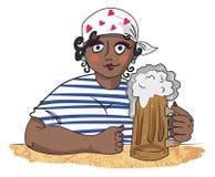 Immagine del fumetto della donna lavoratrice dura con birra royalty illustrazione gratis