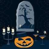 Immagine del fumetto di notte di Halloween Immagini Stock Libere da Diritti