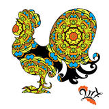 Immagine del gallo, un simbolo di 2017 sul calendario cinese Fotografie Stock