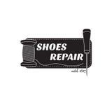 immagine del logo dei servizi di riparazione della scarpa Concetto per la riparazione dell'officina Fotografia Stock Libera da Diritti