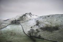 Immagine del paesaggio di inverno di Stuning della collina di Chrome e della collina di Parkhouse fotografie stock libere da diritti