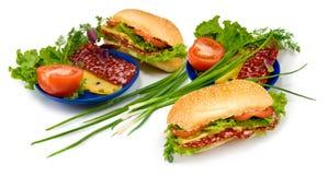 immagine del panino, della salsiccia, del pomodoro e del formaggio Fotografia Stock Libera da Diritti