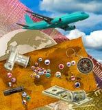 immagine del piano, della macchina fotografica, dei soldi e delle bandiere dei paesi differenti Fotografie Stock