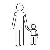 Immagine del pittogramma dell'icona del bambino e del padre royalty illustrazione gratis