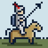Immagine del pixel di un cavaliere in armatura del ferro su un cavallo e con una lancia Fotografie Stock