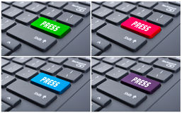 Immagine del primo piano con il testo della stampa sui bottoni variopinti Fotografia Stock Libera da Diritti