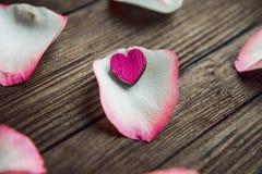 Immagine del primo piano dei petali di rosa rossa su un fondo di legno Immagini Stock Libere da Diritti