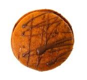 Immagine del primo piano del biscotto del cioccolato isolata Immagini Stock
