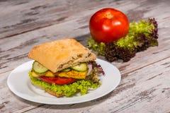 Immagine del primo piano del panino vegetariano con il tofu immagini stock libere da diritti