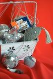Immagine del primo piano del sacchetto con i giocattoli di natale fotografia stock