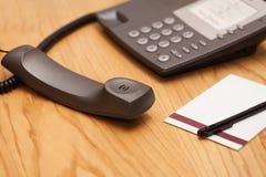 Immagine del primo piano del telefono dell'ufficio Fotografie Stock Libere da Diritti
