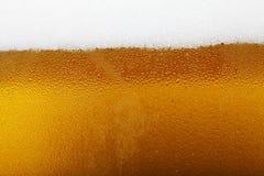 Immagine del primo piano di una birra con schiuma e le bolle, fondo Fotografia Stock Libera da Diritti