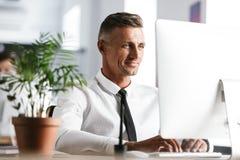 Immagine del si dell'uomo d'affari 30s della camicia bianca d'uso bella e del legame fotografia stock libera da diritti