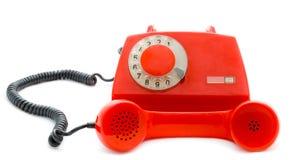 Immagine del telefono rosso retro-disegnato Immagini Stock