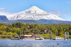 Immagine del vulcano di Villarrica, Cile Immagine Stock