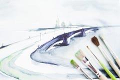 Immagine dell'acquerello del mare con la disposizione del piano del pennello Fotografia Stock Libera da Diritti