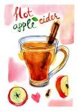Immagine dell'acquerello del sidro di mela con cannella Immagini Stock Libere da Diritti