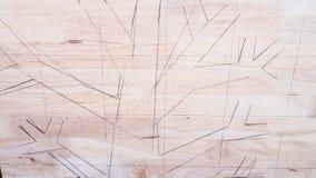 Immagine dell'albero di tiraggio su fondo di legno fotografie stock libere da diritti