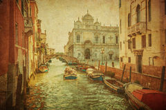 Immagine dell'annata dei canali di Venezia Fotografie Stock