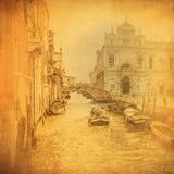 Immagine dell'annata dei canali di Venezia Immagine Stock