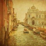 Immagine dell'annata dei canali di Venezia Fotografia Stock Libera da Diritti