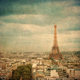 Immagine dell'annata della Torre Eiffel, Parigi, Francia Fotografia Stock