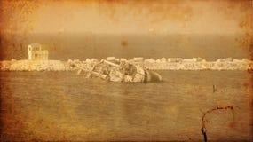 Immagine dell'annata di vecchio naufragio della nave del naufragio immagini stock libere da diritti