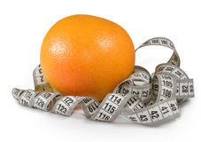 immagine dell'arancia e del centimetro Fotografia Stock Libera da Diritti