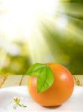 immagine dell'arancia sulla fine del piatto su Fotografia Stock
