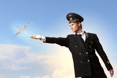 Immagine dell'aria commovente del pilota Immagini Stock