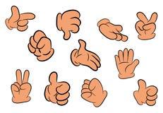 Immagine dell'insieme umano di gesto di mano dei guanti del fumetto Illustrazione di vettore su priorità bassa bianca Immagine Stock