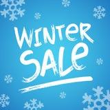 Immagine dell'intestazione di vendita di inverno con la mano dell'illustrazione di vettore della neve scritta Fotografie Stock