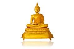 Immagine dell'oro dell'isolato del Buddha sul bianco. Fotografia Stock