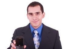 Immagine dell'uomo, uomo d'affari, che mostra il telefono fotografia stock libera da diritti