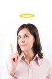 Immagine della donna di affari con la testa di cui sopra di alone. Fotografia Stock