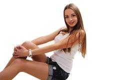 Immagine della donna felice in maglietta bianca in bianco Fotografia Stock Libera da Diritti